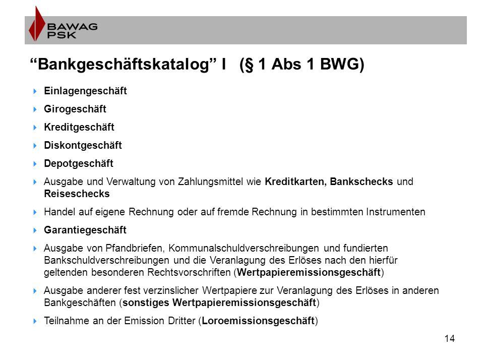 """14 """"Bankgeschäftskatalog"""" I (§ 1 Abs 1 BWG)  Einlagengeschäft  Girogeschäft  Kreditgeschäft  Diskontgeschäft  Depotgeschäft  Ausgabe und Verwalt"""