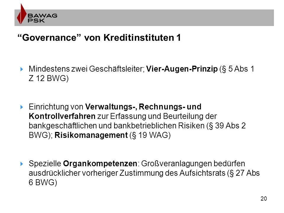 20 Governance von Kreditinstituten 1  Mindestens zwei Geschäftsleiter; Vier-Augen-Prinzip (§ 5 Abs 1 Z 12 BWG)  Einrichtung von Verwaltungs-, Rechnungs- und Kontrollverfahren zur Erfassung und Beurteilung der bankgeschäftlichen und bankbetrieblichen Risiken (§ 39 Abs 2 BWG); Risikomanagement (§ 19 WAG)  Spezielle Organkompetenzen: Großveranlagungen bedürfen ausdrücklicher vorheriger Zustimmung des Aufsichtsrats (§ 27 Abs 6 BWG)
