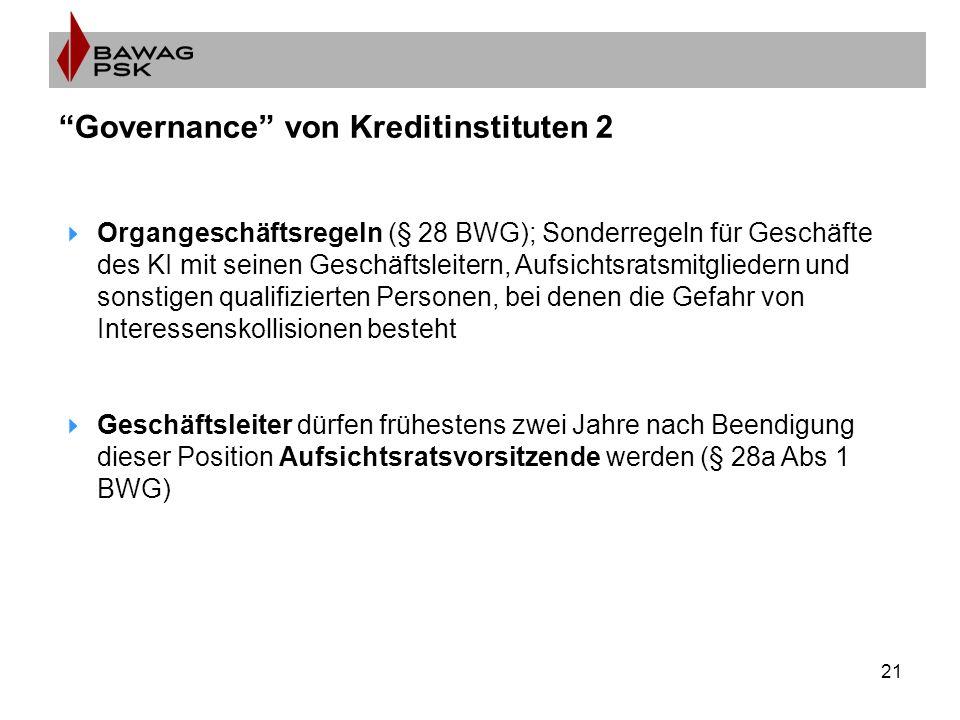 """21 """"Governance"""" von Kreditinstituten 2  Organgeschäftsregeln (§ 28 BWG); Sonderregeln für Geschäfte des KI mit seinen Geschäftsleitern, Aufsichtsrats"""