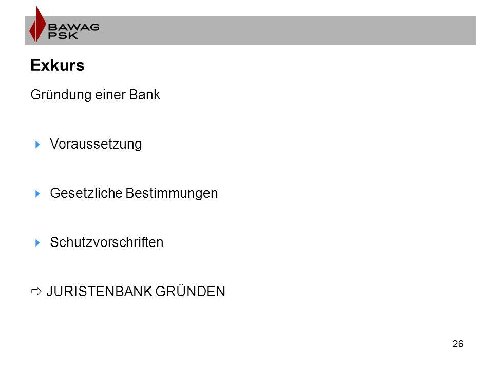 26 Exkurs Gründung einer Bank  Voraussetzung  Gesetzliche Bestimmungen  Schutzvorschriften  JURISTENBANK GRÜNDEN