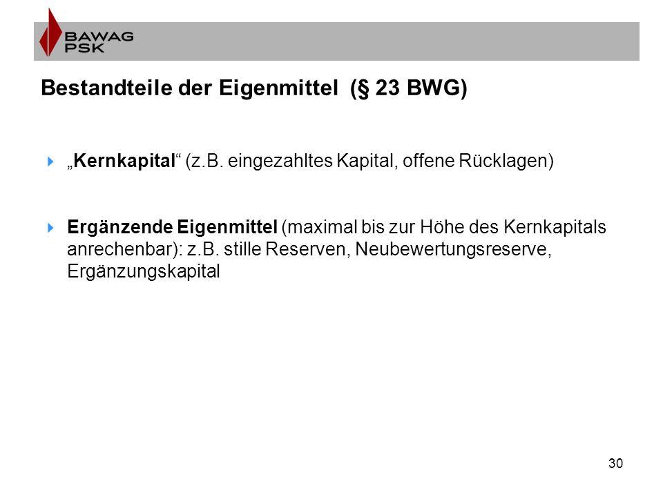 "30 Bestandteile der Eigenmittel (§ 23 BWG)  ""Kernkapital (z.B."