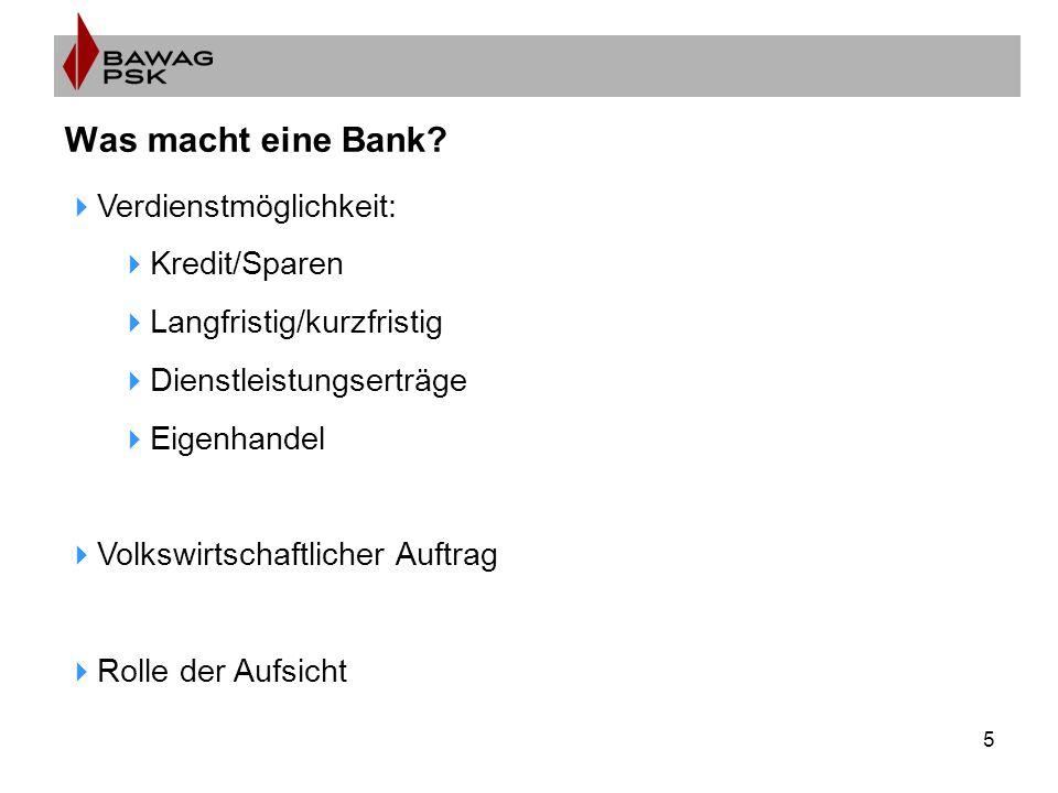 5 Was macht eine Bank?  Verdienstmöglichkeit:  Kredit/Sparen  Langfristig/kurzfristig  Dienstleistungserträge  Eigenhandel  Volkswirtschaftliche