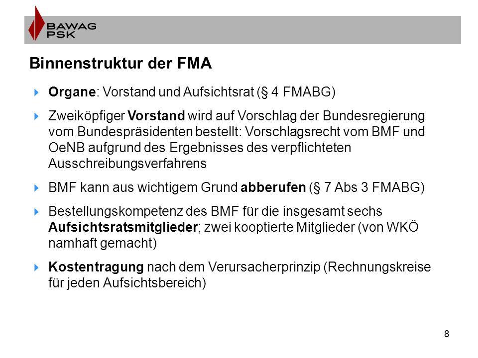8 Binnenstruktur der FMA  Organe: Vorstand und Aufsichtsrat (§ 4 FMABG)  Zweiköpfiger Vorstand wird auf Vorschlag der Bundesregierung vom Bundespräsidenten bestellt: Vorschlagsrecht vom BMF und OeNB aufgrund des Ergebnisses des verpflichteten Ausschreibungsverfahrens  BMF kann aus wichtigem Grund abberufen (§ 7 Abs 3 FMABG)  Bestellungskompetenz des BMF für die insgesamt sechs Aufsichtsratsmitglieder; zwei kooptierte Mitglieder (von WKÖ namhaft gemacht)  Kostentragung nach dem Verursacherprinzip (Rechnungskreise für jeden Aufsichtsbereich)