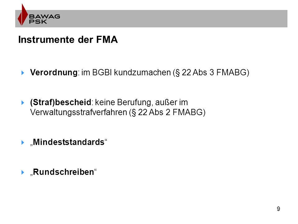 """9 Instrumente der FMA  Verordnung: im BGBl kundzumachen (§ 22 Abs 3 FMABG)  (Straf)bescheid: keine Berufung, außer im Verwaltungsstrafverfahren (§ 22 Abs 2 FMABG)  """"Mindeststandards  """"Rundschreiben"""