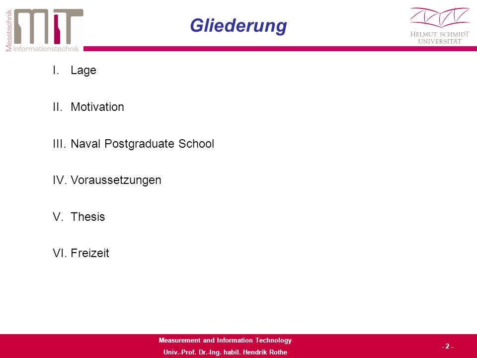 Measurement and Information Technology Univ.-Prof. Dr.-Ing. habil. Hendrik Rothe - 3 - Lage