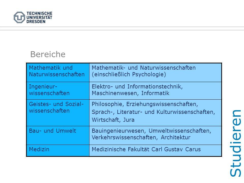 Bereiche Mathematik und Naturwissenschaften Mathematik- und Naturwissenschaften (einschließlich Psychologie) Ingenieur- wissenschaften Elektro- und In