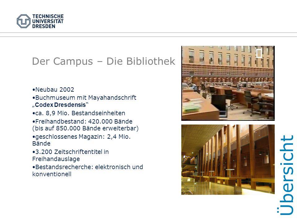 """Der Campus – Die Bibliothek Neubau 2002 Buchmuseum mit Mayahandschrift """" Codex Dresdensis """" ca. 8,9 Mio. Bestandseinheiten Freihandbestand: 420.000 Bä"""