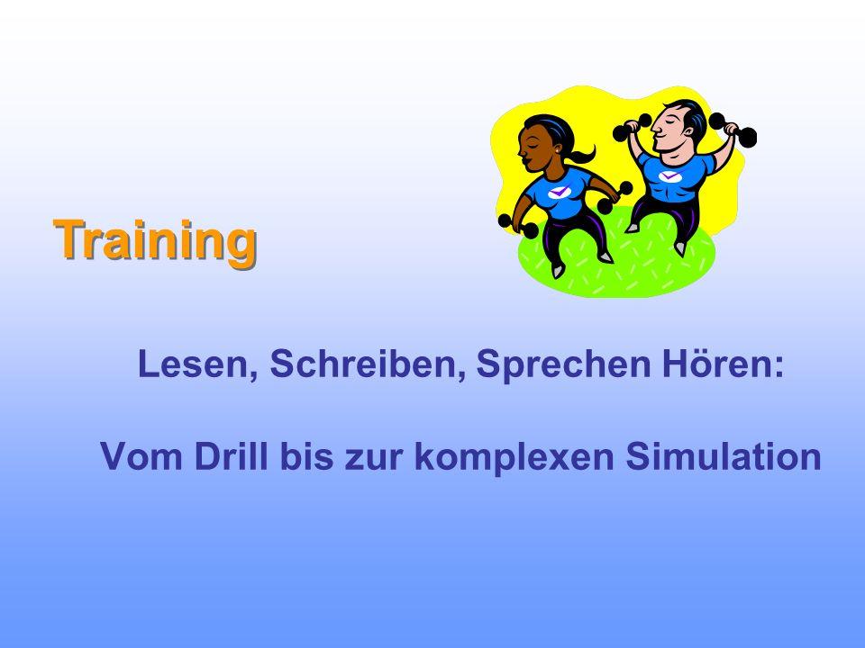 Lesen, Schreiben, Sprechen Hören: Vom Drill bis zur komplexen Simulation Training