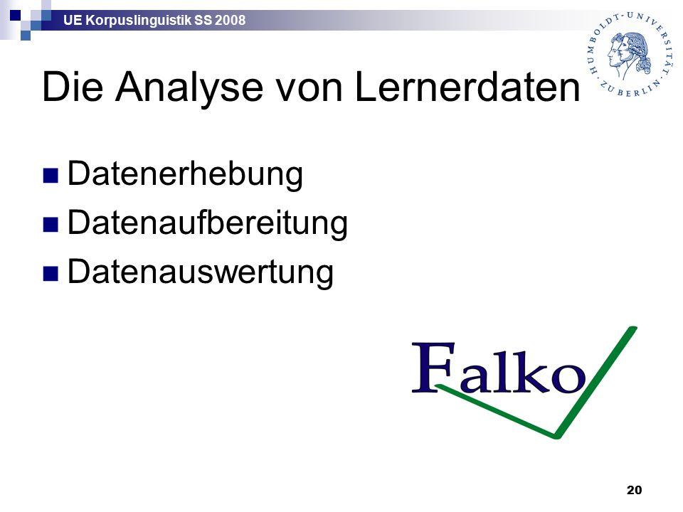 UE Korpuslinguistik SS 2008 20 Die Analyse von Lernerdaten Datenerhebung Datenaufbereitung Datenauswertung