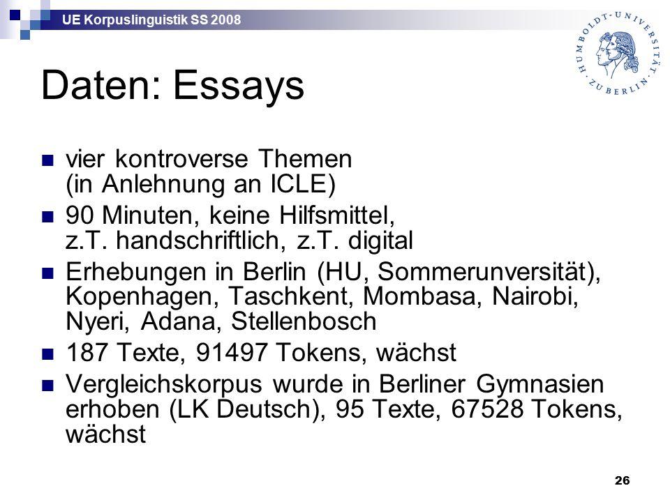 UE Korpuslinguistik SS 2008 26 Daten: Essays vier kontroverse Themen (in Anlehnung an ICLE) 90 Minuten, keine Hilfsmittel, z.T.