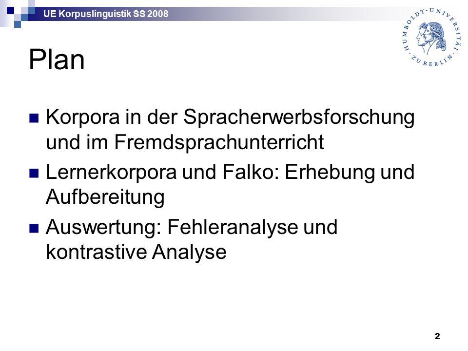 UE Korpuslinguistik SS 2008 13 Daten über L2-Erwerb Intuition Sammlungen von authentischen Lernerdaten  unsystematisch, episodisch  Fehlersammlungen  Lernerkorpora experimentelle Daten  Elizitationsdaten  psycholinguistische Experimente  …
