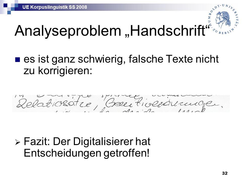"""UE Korpuslinguistik SS 2008 32 Analyseproblem """"Handschrift es ist ganz schwierig, falsche Texte nicht zu korrigieren:  Fazit: Der Digitalisierer hat Entscheidungen getroffen!"""
