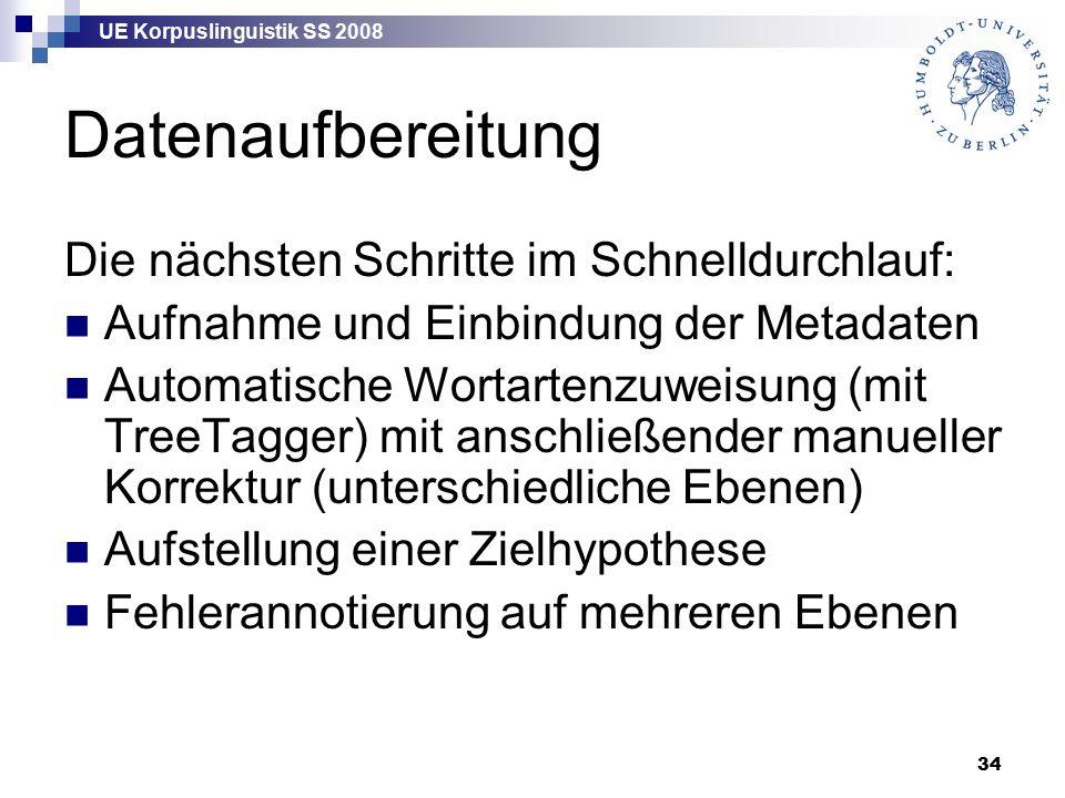 UE Korpuslinguistik SS 2008 34 Datenaufbereitung Die nächsten Schritte im Schnelldurchlauf: Aufnahme und Einbindung der Metadaten Automatische Wortartenzuweisung (mit TreeTagger) mit anschließender manueller Korrektur (unterschiedliche Ebenen) Aufstellung einer Zielhypothese Fehlerannotierung auf mehreren Ebenen