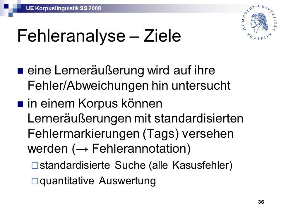UE Korpuslinguistik SS 2008 36 Fehleranalyse – Ziele eine Lerneräußerung wird auf ihre Fehler/Abweichungen hin untersucht in einem Korpus können Lerneräußerungen mit standardisierten Fehlermarkierungen (Tags) versehen werden (→ Fehlerannotation)  standardisierte Suche (alle Kasusfehler)  quantitative Auswertung