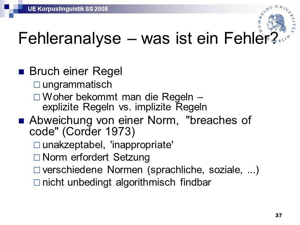 UE Korpuslinguistik SS 2008 37 Fehleranalyse – was ist ein Fehler.