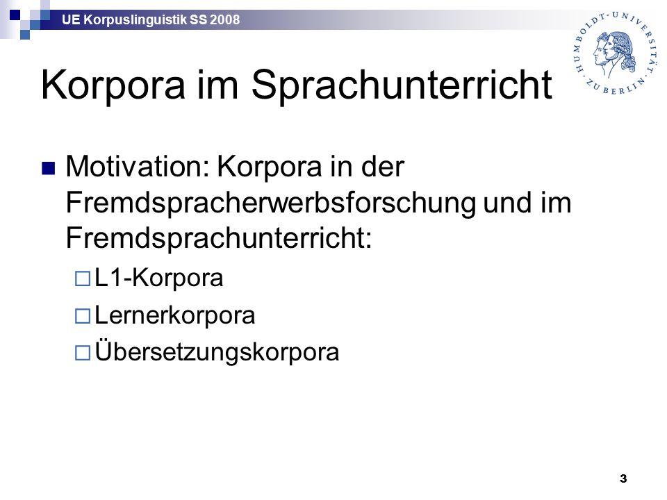 UE Korpuslinguistik SS 2008 14 Daten über L2-Erwerb Intuition: von Lernern.
