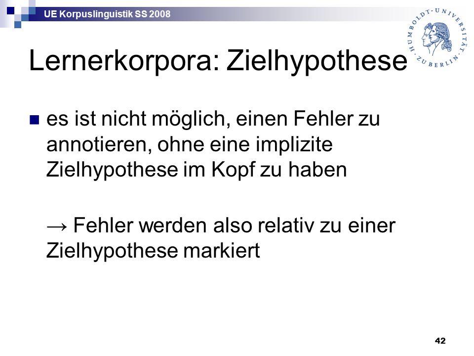 UE Korpuslinguistik SS 2008 42 Lernerkorpora: Zielhypothese es ist nicht möglich, einen Fehler zu annotieren, ohne eine implizite Zielhypothese im Kopf zu haben → Fehler werden also relativ zu einer Zielhypothese markiert