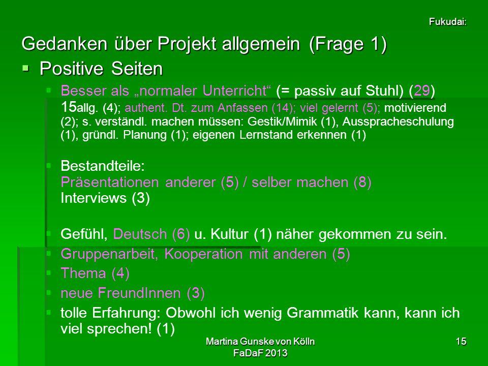 """Martina Gunske von Kölln FaDaF 2013 15 Fukudai: Gedanken über Projekt allgemein (Frage 1)  Positive Seiten   Besser als """"normaler Unterricht (= passiv auf Stuhl) (29) 15 allg."""