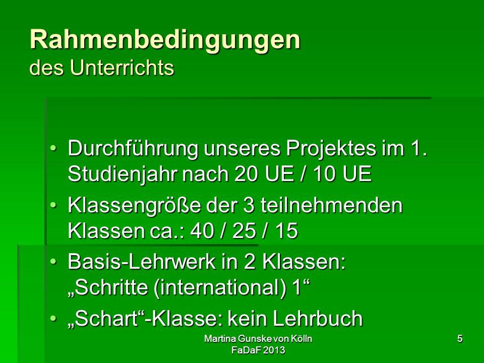 Martina Gunske von Kölln FaDaF 2013 5 Rahmenbedingungen des Unterrichts Durchführung unseres Projektes im 1.