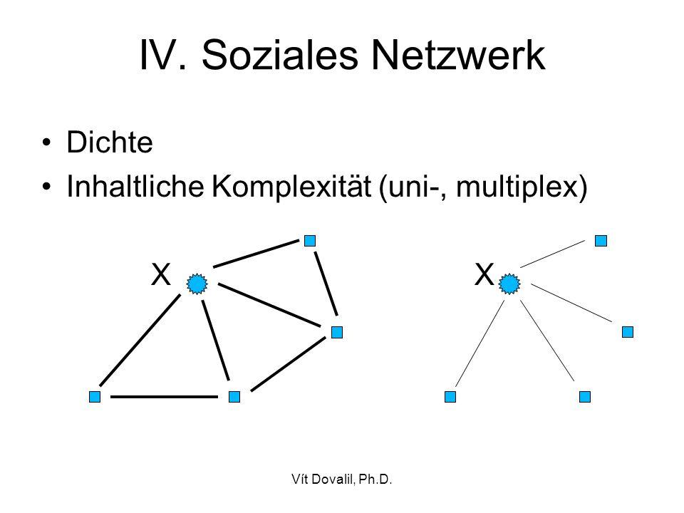 Vít Dovalil, Ph.D. IV. Soziales Netzwerk Dichte Inhaltliche Komplexität (uni-, multiplex) X X