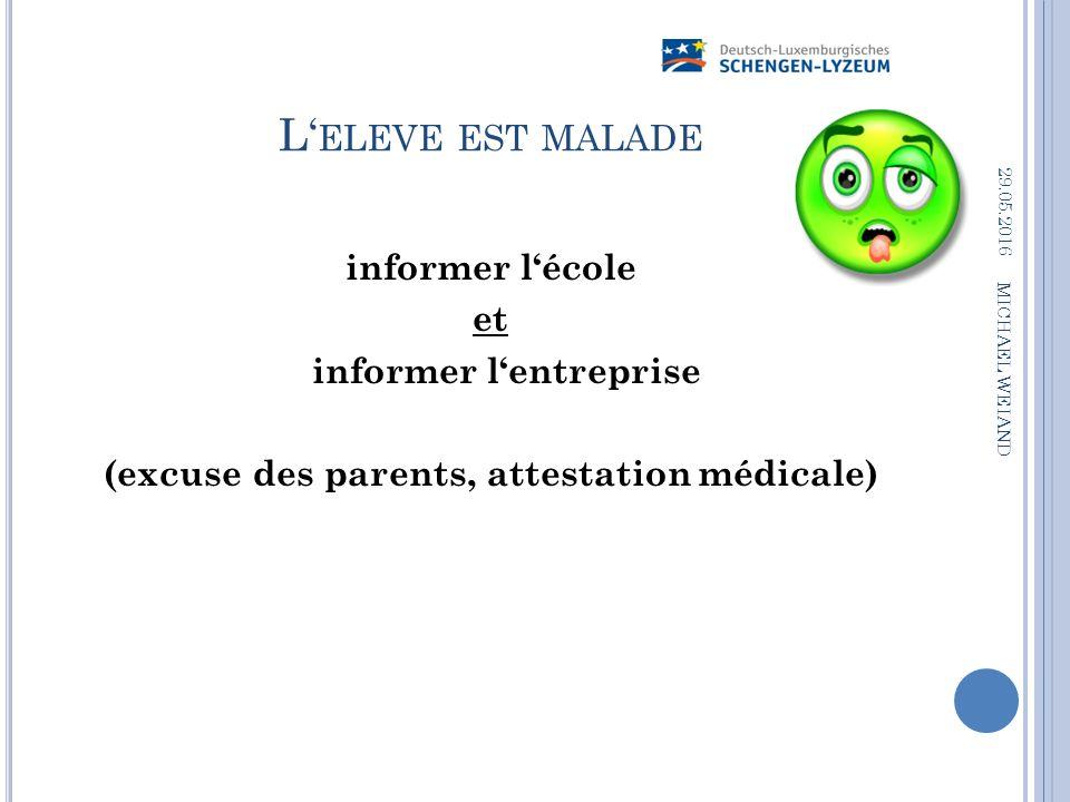 L' ELEVE EST MALADE informer l'école et informer l'entreprise (excuse des parents, attestation médicale) 29.05.2016 MICHAEL WEIAND