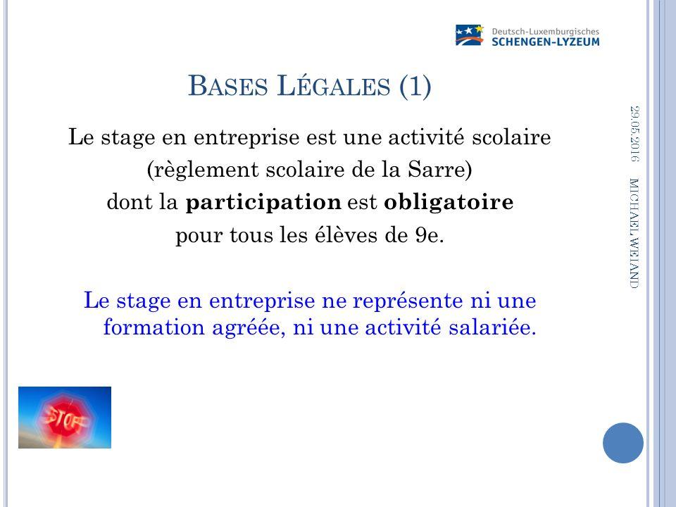 B ASES L ÉGALES (1) Le stage en entreprise est une activité scolaire (règlement scolaire de la Sarre) dont la participation est obligatoire pour tous les élèves de 9e.