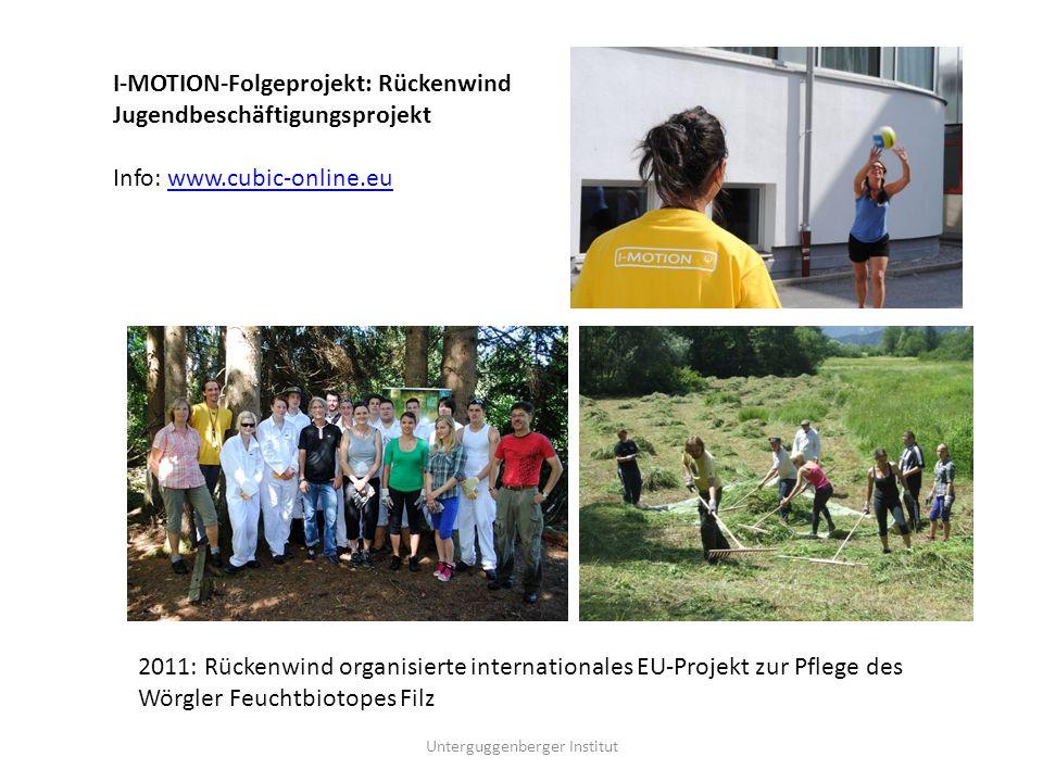 I-MOTION-Folgeprojekt: Rückenwind Jugendbeschäftigungsprojekt Info: www.cubic-online.euwww.cubic-online.eu 2011: Rückenwind organisierte internationales EU-Projekt zur Pflege des Wörgler Feuchtbiotopes Filz
