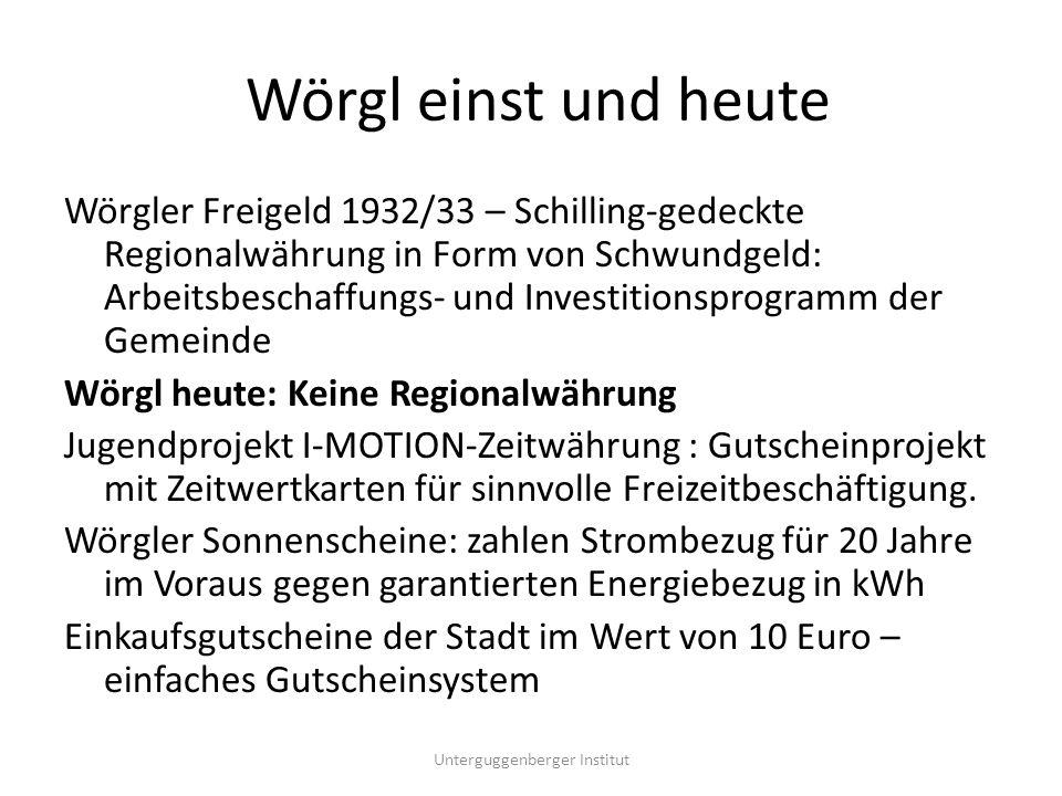 Wörgler Freigeld 1932/33 Arbeitswertscheine als regional gültige Zweitwährung Finanzierung eines Infrastruktur-Bauprogrammes durch die Gemeinde Regionale Wirtschaftsbelebung durch Arbeitsplatzschaffung und Kaufkraftstärkung Geldsystem-Änderung: statt Zins Gebühren als Umlaufsicherung, die als Sozialabgabe zweckgewidmet für Armenfürsorge verwendet wurden Unterguggenberger Institut