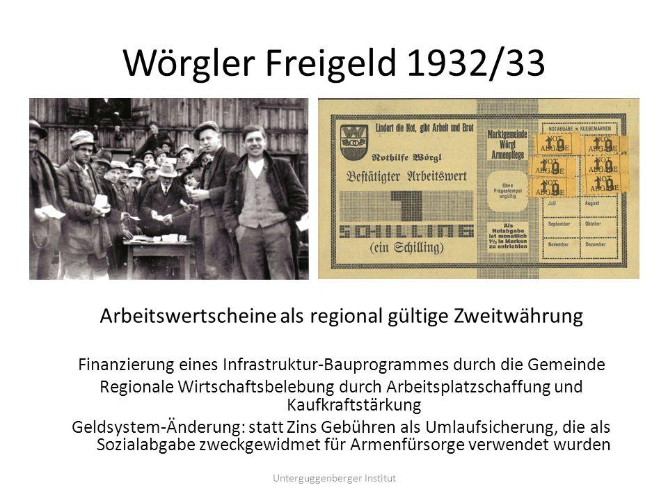 Wörgler Freigeld - eine Erfolgsbilanz Während der 13,5 Versuchsmonate des Wörgler Währungsexperimentes 1932/33 wurden durchschnittlich rund 100 Menschen beschäftigt.