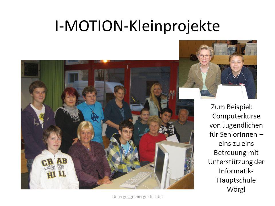 I-MOTION – Facts & Zahlen Bisher über 500 TeilnehmerInnen, aktuell rund 100 Jugendliche Eintausch Zeitwertkarten in Gutscheine seit Dezember 2005 bis November 2010: über 10.000 – damit wurden 25.000 Euro Taschengeld ausbezahlt.