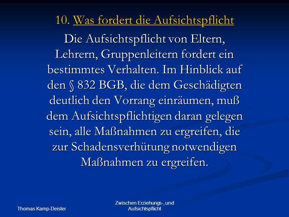 Thomas Kamp-Deister Zwischen Erziehungs-, und Aufsichtspflicht 10.