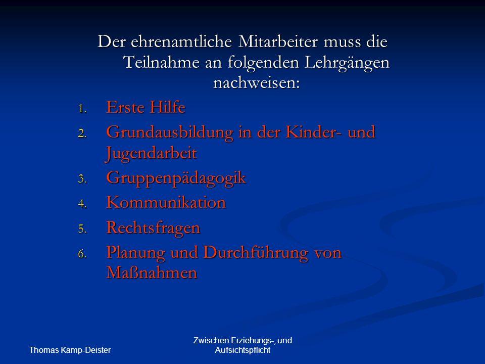 Thomas Kamp-Deister Zwischen Erziehungs-, und Aufsichtspflicht Der ehrenamtliche Mitarbeiter muss die Teilnahme an folgenden Lehrgängen nachweisen: 1.