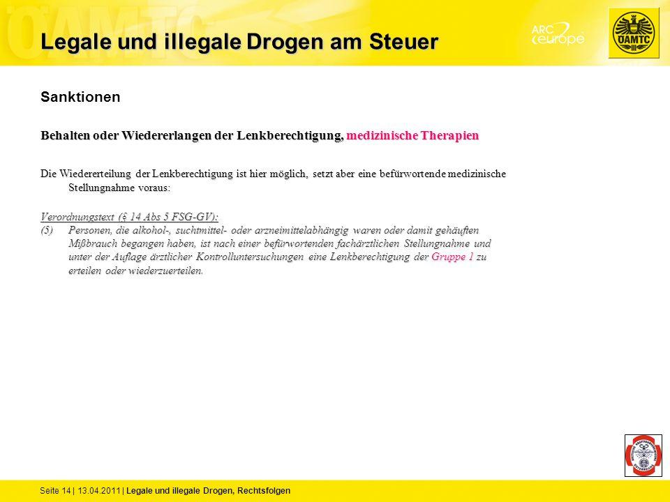 Seite 14 | 13.04.2011 | Legale und illegale Drogen, Rechtsfolgen Sanktionen Behalten oder Wiedererlangen der Lenkberechtigung, medizinische Therapien