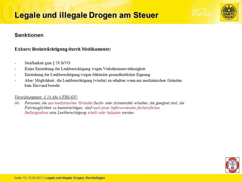 Seite 15 | 13.04.2011 | Legale und illegale Drogen, Rechtsfolgen Sanktionen Exkurs: Beeinträchtigung durch Medikamente: -Strafbarkeit gem § 58 StVO -K