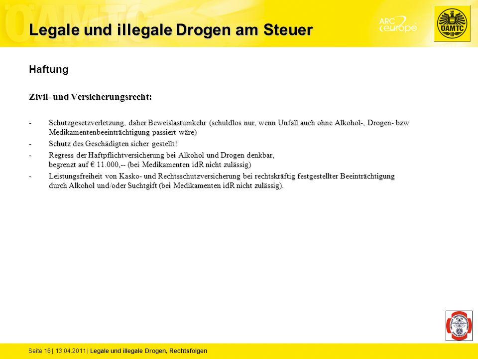 Seite 16 | 13.04.2011 | Legale und illegale Drogen, Rechtsfolgen Haftung Zivil- und Versicherungsrecht: -Schutzgesetzverletzung, daher Beweislastumkeh