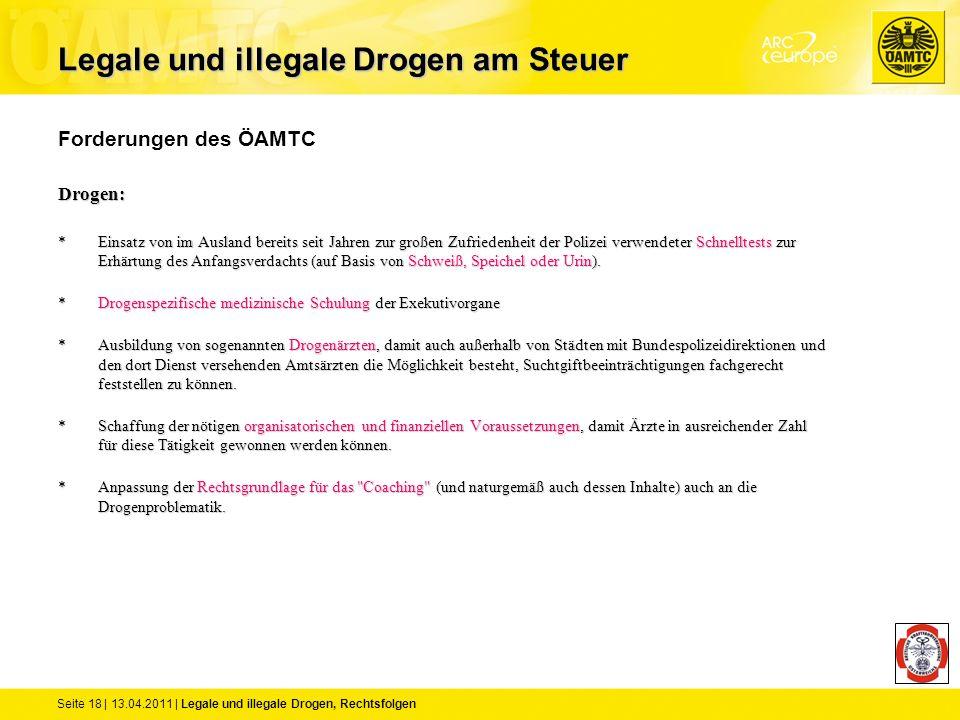 Seite 18 | 13.04.2011 | Legale und illegale Drogen, Rechtsfolgen Forderungen des ÖAMTCDrogen: *Einsatz von im Ausland bereits seit Jahren zur großen Z