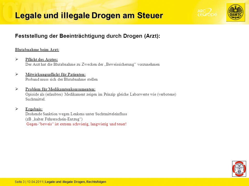 Seite 3 | 13.04.2011 | Legale und illegale Drogen, Rechtsfolgen Feststellung der Beeinträchtigung durch Drogen (Arzt): Blutabnahme beim Arzt:  Pflich
