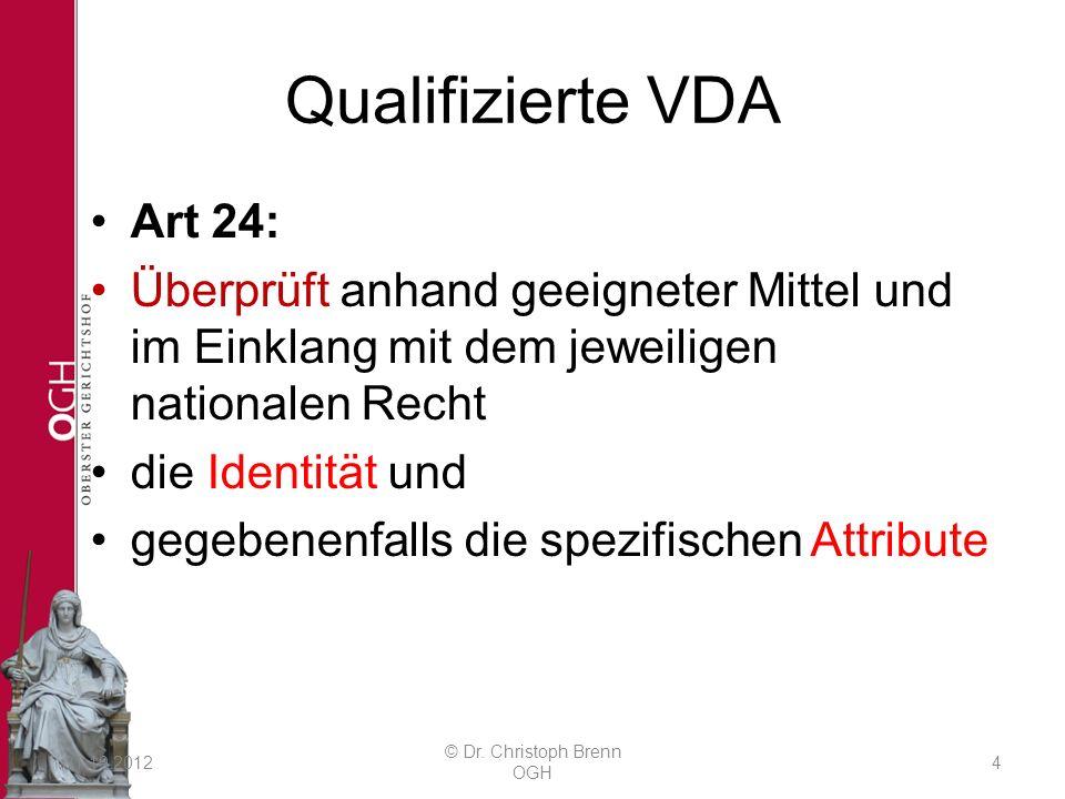 Qualifizierte VDA Art 24: Überprüft anhand geeigneter Mittel und im Einklang mit dem jeweiligen nationalen Recht die Identität und gegebenenfalls die spezifischen Attribute 31.10.2012 © Dr.