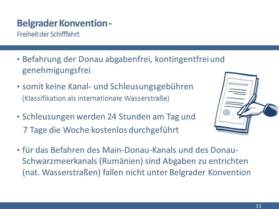Belgrader Konvention - Freiheit der Schifffahrt Befahrung der Donau abgabenfrei, kontingentfrei und genehmigungsfrei somit keine Kanal- und Schleusungsgebühren (Klassifikation als internationale Wasserstraße) Schleusungen werden 24 Stunden am Tag und 7 Tage die Woche kostenlos durchgeführt für das Befahren des Main-Donau-Kanals und des Donau- Schwarzmeerkanals (Rumänien) sind Abgaben zu entrichten (nat.