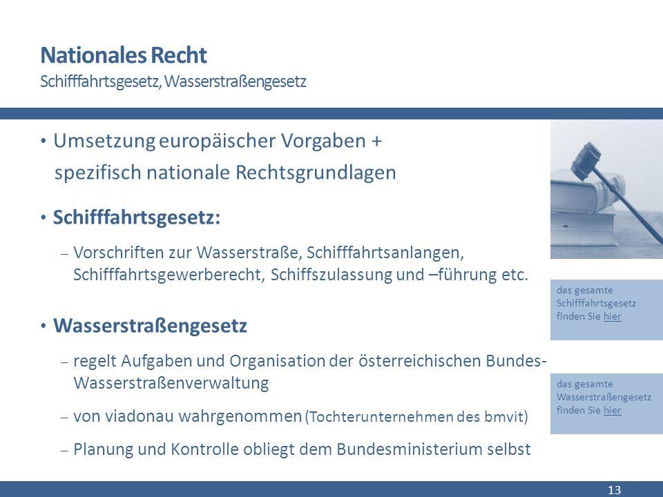 Nationales Recht Schifffahrtsgesetz, Wasserstraßengesetz Umsetzung europäischer Vorgaben + spezifisch nationale Rechtsgrundlagen Schifffahrtsgesetz:  Vorschriften zur Wasserstraße, Schifffahrtsanlangen, Schifffahrtsgewerberecht, Schiffszulassung und –führung etc.