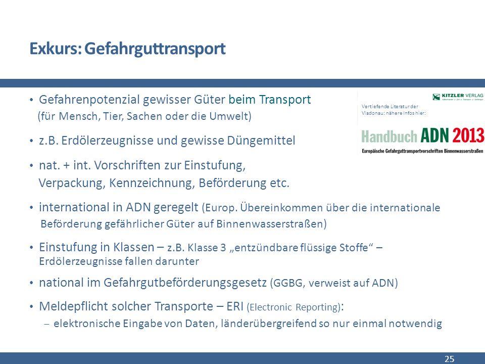 Exkurs: Gefahrguttransport Gefahrenpotenzial gewisser Güter beim Transport (für Mensch, Tier, Sachen oder die Umwelt) z.B.