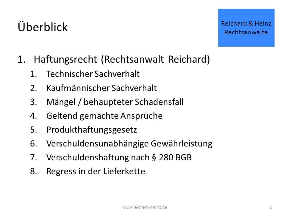 Überblick 1.Haftungsrecht (Rechtsanwalt Reichard) 1.Technischer Sachverhalt 2.Kaufmännischer Sachverhalt 3.Mängel / behaupteter Schadensfall 4.Geltend gemachte Ansprüche 5.Produkthaftungsgesetz 6.Verschuldensunabhängige Gewährleistung 7.Verschuldenshaftung nach § 280 BGB 8.Regress in der Lieferkette Reichard & Heinz Rechtsanwälte www.reichard-heinz.de2