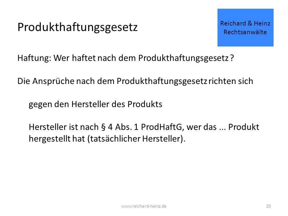 Produkthaftungsgesetz Haftung: Wer haftet nach dem Produkthaftungsgesetz .
