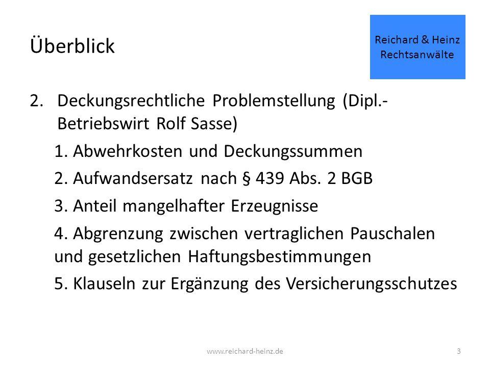 Überblick 2.Deckungsrechtliche Problemstellung (Dipl.- Betriebswirt Rolf Sasse) 1.
