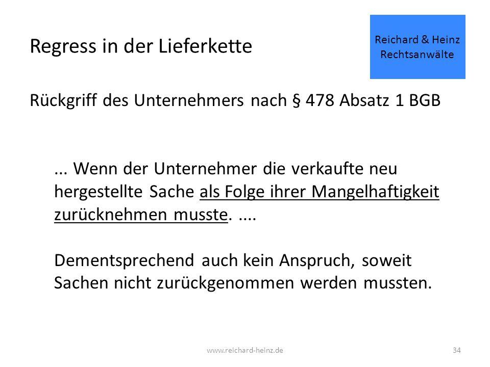 Regress in der Lieferkette Rückgriff des Unternehmers nach § 478 Absatz 1 BGB...