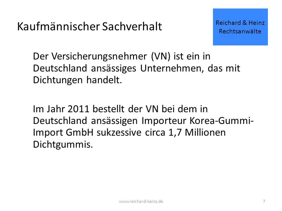 38 Allgemeine Produkthaftpflichtversicherung Die VN hat im Rahmen des Versicherungsvertrages eine Deckungssumme von 1.000.000 € vereinbart.