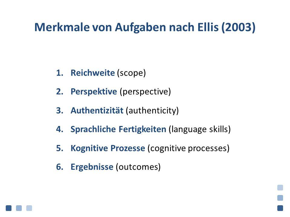Merkmale von Aufgaben nach Ellis (2003) 1.Reichweite (scope) 2.Perspektive (perspective) 3.Authentizität (authenticity) 4.Sprachliche Fertigkeiten (language skills) 5.Kognitive Prozesse (cognitive processes) 6.Ergebnisse (outcomes)