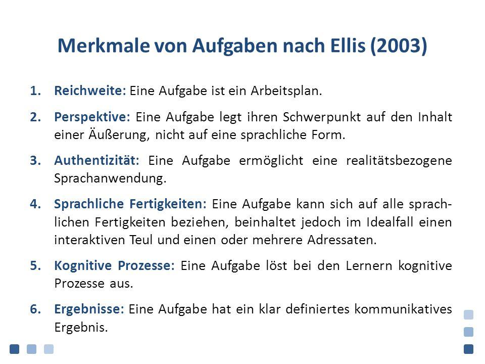 Merkmale von Aufgaben nach Ellis (2003) 1.Reichweite: Eine Aufgabe ist ein Arbeitsplan. 2.Perspektive: Eine Aufgabe legt ihren Schwerpunkt auf den Inh