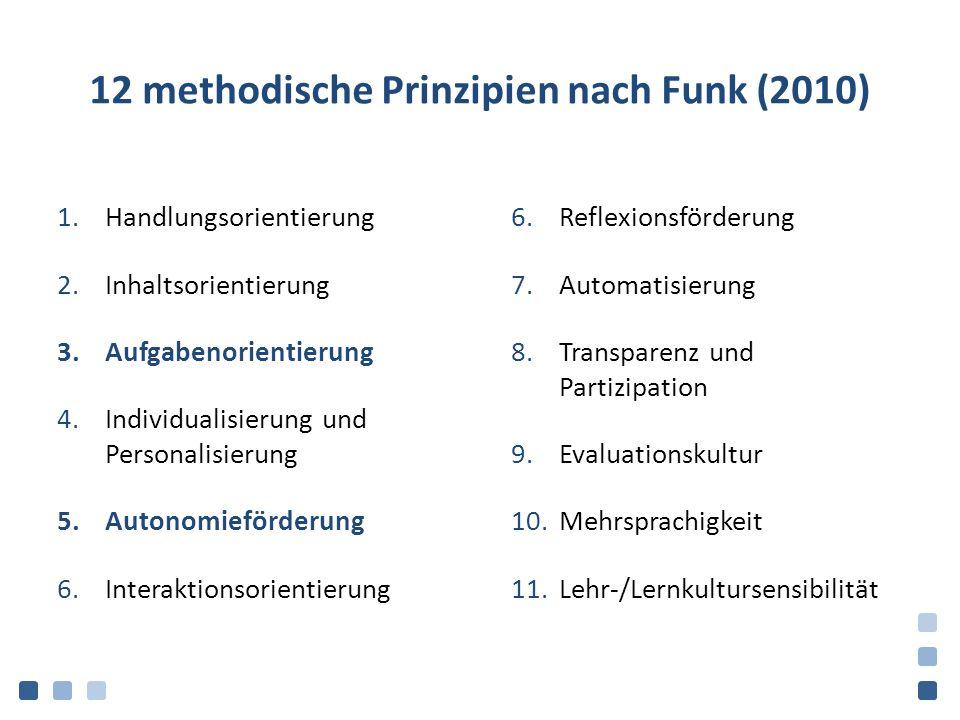 12 methodische Prinzipien nach Funk (2010) 1.Handlungsorientierung 2.Inhaltsorientierung 3.Aufgabenorientierung 4.Individualisierung und Personalisierung 5.Autonomieförderung 6.Interaktionsorientierung 6.Reflexionsförderung 7.Automatisierung 8.Transparenz und Partizipation 9.Evaluationskultur 10.Mehrsprachigkeit 11.Lehr-/Lernkultursensibilität