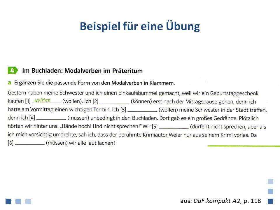 Beispiel für eine Übung aus: DaF kompakt A2, p. 118